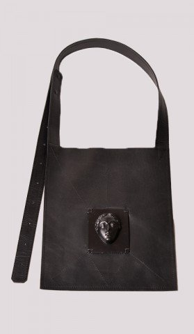 Leather Bag with Black Silver Face