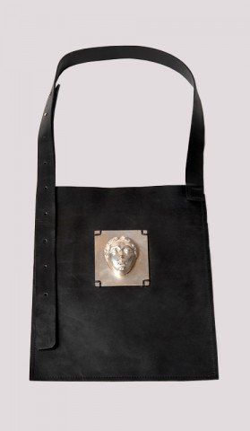 Leather Bag with Silver Face